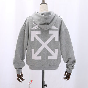 Printed Cotton Hoodie in Gray